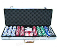 NEW 500 CASINO POKER CHIPS SET TEXAS CARD GAME 5 DICE WITH ALUM. CASE UK