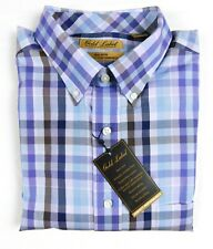 NWT Gold Label Roundtree Yorke No-Iron Long Sleeve Purple Check Men Shirt XL NEW