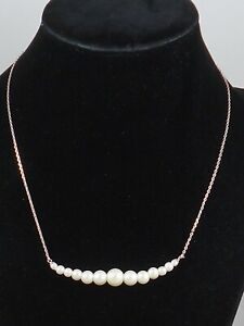 Kate Spade Silver Plate MODERN PEARLS Faux Pearl Frontal Necklace O0R00134 $79