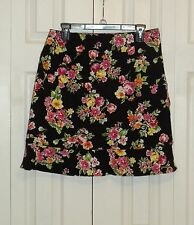Briggs Woman Skirt Size 14 Black Floral Print Above Knee Stretch Fabric Cotton