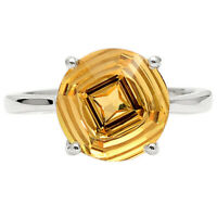 Natural Golden Citrine 925 Sterling Silver Ring s.10 Jewelry 0840