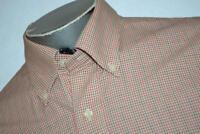 12278-a Mens Brooks Brothers Dress Shirt Size Large Orange Plaids Non-Iron
