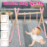 Wooden Baby Play Activity Stand Nursery Fun Mobile Gym Rack w/ Hanging Toys A