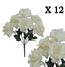 "(Pack of 12) Cream Microfiber Rose 14"" Bush Wedding Party Home Decor Silk Flower"
