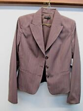 New TAHARI blazer 4 brown pin striped rayon blend NWT Sycamore $428 3 button