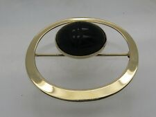14k Yellow Gold Black Onyx Carved Egyptian Scarab Beetle Brooch Pin SIGNED WRE