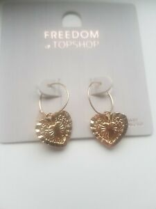Freedom At Topshop Pretty Gold Heart Earrings