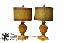 2 Stunning Arts + Crafts Pine Trophy Lamps W/ Brown and Green Shades Designer