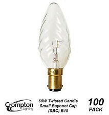 100 Pack x 60W B15 Clear Twist Candle Shaped Light Globes / Bulbs / Lamps
