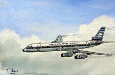 ORIGINAL AQUARELL - KLM, Douglas DC-8.
