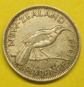 1942 Silver New Zealand Six Pence Take a Look