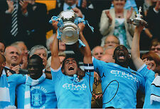 Carlos TEVEZ SIGNED Autograph 12x8 Photo AFTAL COA Manchester City FA Cup WInner