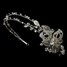 Vintage Silver Swarovski Rhinestone Butterfly Bridal Wedding Side Headband