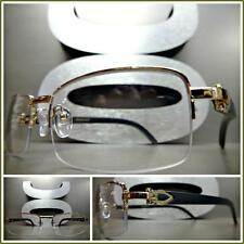 Men's CLASSY READING EYE GLASSES READERS Gold & Wood Wooden Fashion Frame +2.75