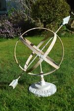 More details for classic antique style rusty iron armillary sphere sundial garden sculpture