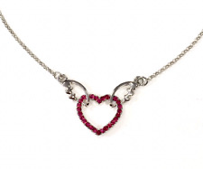 pink heart with wings necklace pendant crystal rhinestone silver coloured chain