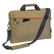 Notebooktasche 17,3 Zoll Laptoptasche mit Zubehörfächer, Schultergurt, beige