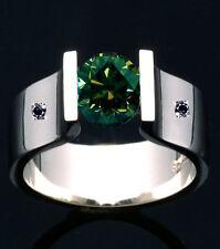 2.34ct SI1/WHITE BROWN GREEN MOISSANITE & NATURAL BLACK DIAMOND .925 SILVER RING