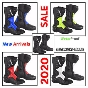 Men Motorbike Racing Leather Boots Waterproof Motorcycle Riding Protective Shoes