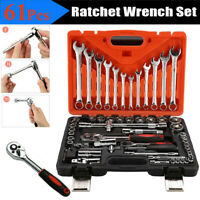 61pc Auto Car Motorcycle Repair Tool Ratchet Wrench Sleeve Joint Hardware Kit WW