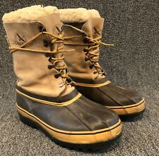 Eddie Bauer Mens Winter Tan Leather Felt Lined Pac Boots Size 11 In GUC