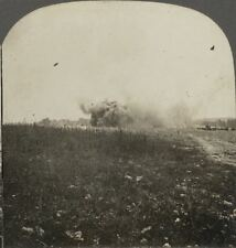 Shells Bursting in a Ruined French Village - WW1 Stereoview