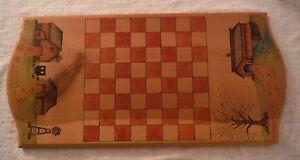 Primitive Americana Folk Art Hand Painted Chessboard Checkers Rural Farm Scenes