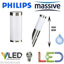 Philips Pm019110147 Massive Utrecht Wall Light With PIR Stainless Steel White