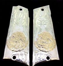 LLAMA GUN GRIPS SILVER/GOLD EAGLE AND SNAKE AGUILA COAT OF ARMS ESCUDO DE ARMAS