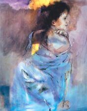 Poster auf Holz Christine Comyn Menschen Frau Malerei blau
