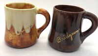 Pottery Ceramic Wheel Thrown Coffee Mug/Cup Brown Ivory Drip Glaze Bridgeway