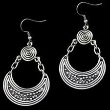 Silver Teardrop Earrings Ottoman Turkish Ethnic Tribal Boho Chain Disc Coin