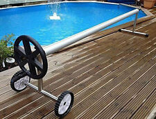 18Ft Extra Long Aluminum Inground Solar Cover Swimming Pool Cover Reel New Black