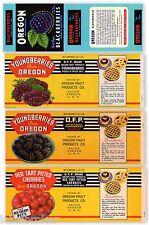 4 VINTAGE CAN LABELS LOT 1950S SALEM OREGON PIE CHERRY BLACKBERRY ORIGINAL