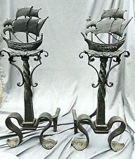 Antique Arts Crafts Spanish Revival Wrought Iron Nautical Tall Ship Andirons