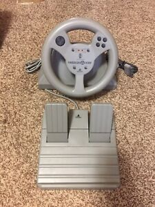 ASCII Playstation Aftershock Racing Steering Wheel For Playstaion One ps1