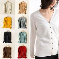 Classic Women Button V-Neck Long Sleeve Knit Sweater Coat Fashion Cardigan S-2XL
