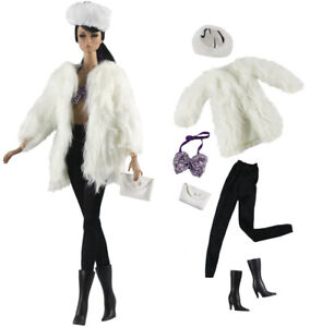 6in1 Set Fashion Outfit Fur Coat+vest+pants+bag+hat+boots for 11.5 in. Doll #06