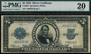 Fr. 282 1923 $5 Silver Certificate Porthole PMG 20