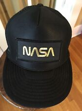 NASA Trucker Hat Cap with Patch Black and Gold Adjustable Snapback Mesh