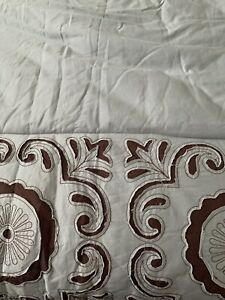 """Anthology Embroidered Reversible Comforter Queen Teal & Brown Floral 92""""x96"""""""