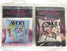Avon Creative Needlecraft Crewel Embroidery Lot of 2 Blue Moo Spinning Wheel New
