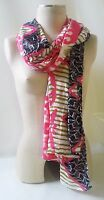 """STELLA & DOT Scarf Union Square GEO IKAT Med Weight Viscose 38"""" x 70"""" With Bag"""