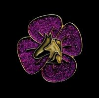 PURPLE POPPY GLITTER  - ANIMALS - REMEMBRANCE BADGE - GOLD          (P18)