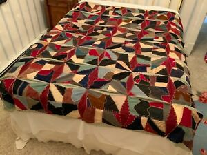 Beautiful Vintage Handmade Crazy Quilt Top of Unfinished Quilt 70x78