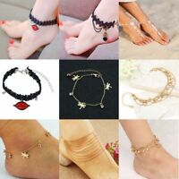 Women Gothic Lace Chain Anklet Ankle Bracelet Barefoot Sandal Beach Foot Jewelry