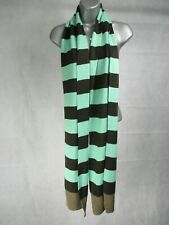 Woman's Green and Brown Knitted Scarf 210 cm Long