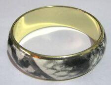 Metal Tono Oro De Latón maravilloso Brazalete Pulsera Estilo Negro Blanco Piel De Serpiente