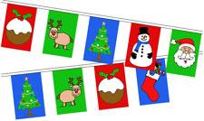Christmas Large Flag Bunting - 24 Flags 8M 24FT - Santa Snowman Reindeer Pudding