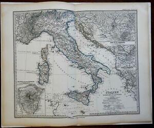 Italy Malta Sicily Sardinia Corsica Rome Milan 1878 Petermann detailed map